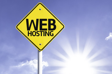 Web Hosting road sign with sun background