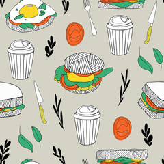 Fast food background. Hand drawn kitchen seamless pattern