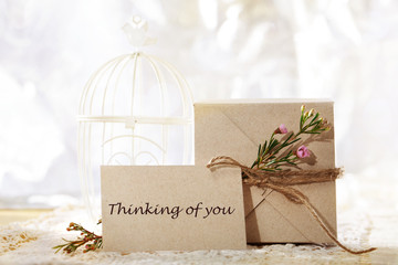 Thinking of you, hand crafted card and present box