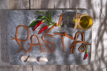 Pasta on a stone for advertising