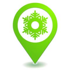 flocon sur symbole localisation vert
