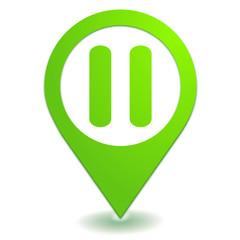 pause sur symbole localisation vert