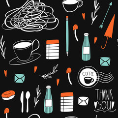 Doodle seamless pattern. Cute kitchen background