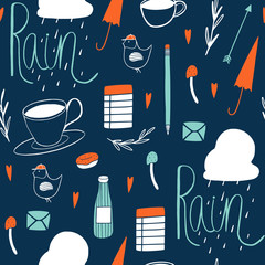 Doodle seamless pattern. Cute vector background