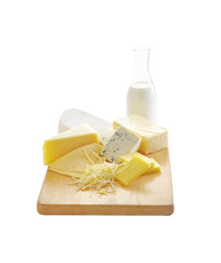 cheese and milk in wooden tray on white background