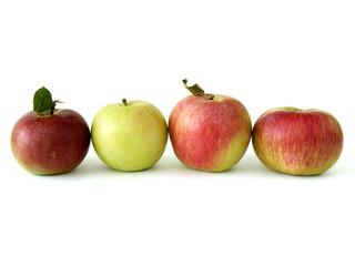 four fresh apples on white