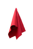 a piece of red cloth on a white background poster