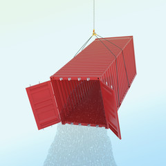 Import problem concept - red shipping container with wather thro