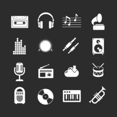 Set icons of music and sound