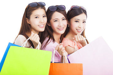 closeup of happy asian shopping women with bags