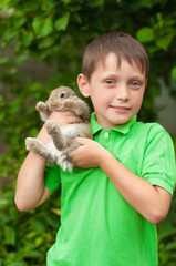 Little boy with a rabbit in his hands in the garden