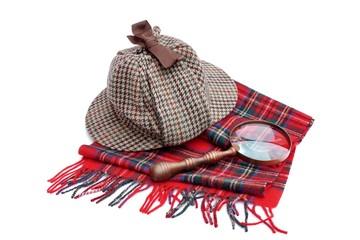 Deerhunter or Sherlock Holmes cap cap, magnifying glass, tartan