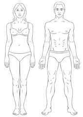Man and woman body outline