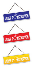 Under construction signs.