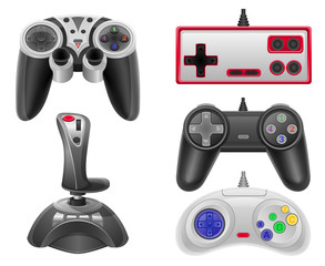 set icons joysticks for gaming consoles vector illustration EPS