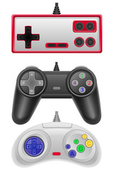 set icons joysticks obsolete for gaming consoles vector illustra