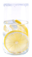 Glass of water with lemon on white background isolated