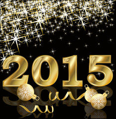 New 2015 Year golden card, vector illustration