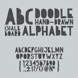 Hand draw doodle abc, alphabet grunge scratch type font vector