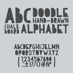 Hand draw doodle abc, alphabet grunge scratch type font vector