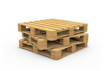 Wooden pallet isolated on white background