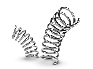 Metal spring on white background