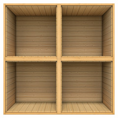 Wooden shelf isolated on white background