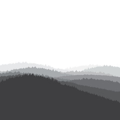 Grey landscape background, forest, vector illustration