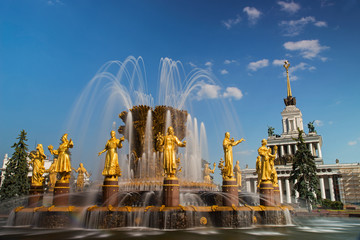 Fountain friendship of people in VDNKH, Moscow, Russia