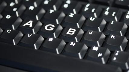 Computer Tastatur mit AGB Text - 16 zu 9 - g1082