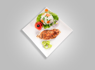 Chicken breast with risotto and salad