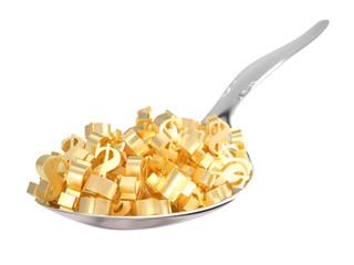 Golden Dollar Symbols on a Spoon