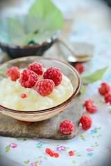 Rice milk porridge with raspberries