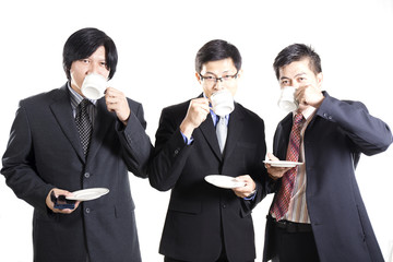 Three Asian business man with coffee break
