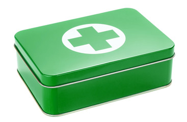 A first aid kit tin on a white background