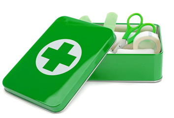 An open first aid box with contents on a white background
