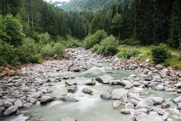 Alpine river during a storm (Pinzolo)