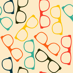 Seamless pattern with glasses in flat style.