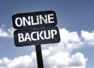 Online Backup sign with clouds and sky background
