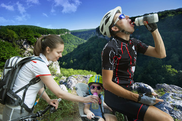 family cycling holiday in the mountains