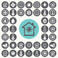 Heating and Cooling icons set. Illustration eps10