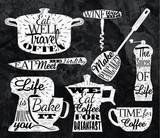 Kitchen symbol vintage lettering with chalk restaurant