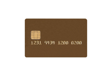 Credit card with chip isolated on white background