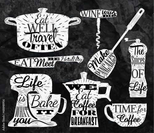 Kitchen symbol vintage lettering with chalk restaurant - 68848956