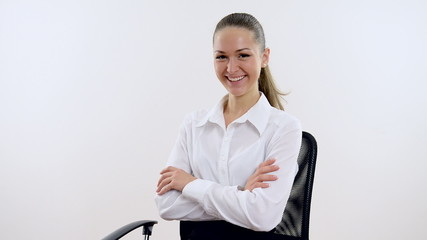 Young beautiful businesswoman in the office on  white background