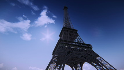 Airplane flying over the Eiffel Tower