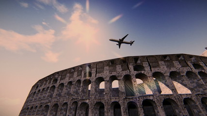 Airplane flying over the Coliseum
