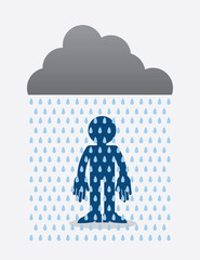 Cloud raining on a standing silhouette figure