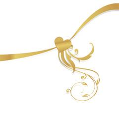 bow ribbon golden heart