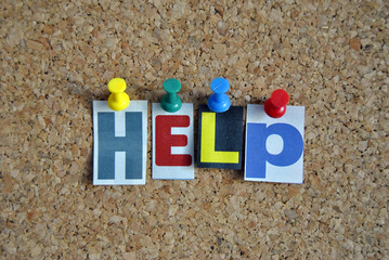 Slogan Pinnwand Hilfe /  Pinboard Slogan Helpful